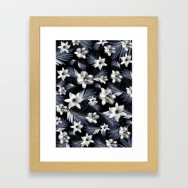 Tropical Flowers Palm Leaves Finesse #4 #tropical #decor #art #society6 Framed Art Print