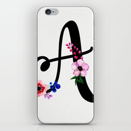 Letter A Watercolor Floral Background iPhone Skin