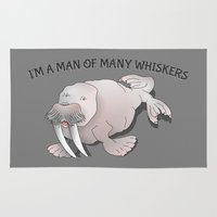 walrus Area & Throw Rugs featuring Walrus Whiskers by mailboxdisco