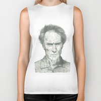 clint eastwood Biker Tanks featuring Clint Eastwood by theMAINsketch