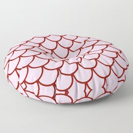 Pink & Red Fish Scales Pattern Floor Pillow
