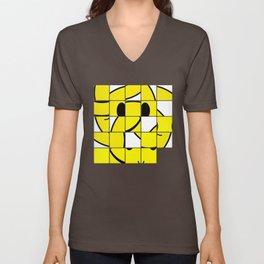 Acid Smiley Shuffle Puzzle Unisex V-Neck
