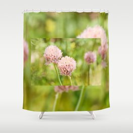 Pink chives flowering plant Shower Curtain