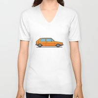 volkswagen V-neck T-shirts featuring #19 Volkswagen Golf by Brownjames Prints