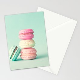 Tower of macarons, macaroons over green mint Stationery Cards
