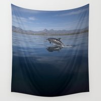 dolphin Wall Tapestries featuring Dolphin by Chico Sanchez