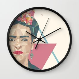 Pastel Frida - Geometric Portrait with Triangles Wall Clock