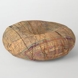 Distressed Old Map Floor Pillow