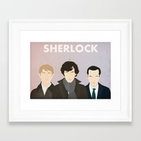 sherlock Framed Art Prints featuring Sherlock by Bantam
