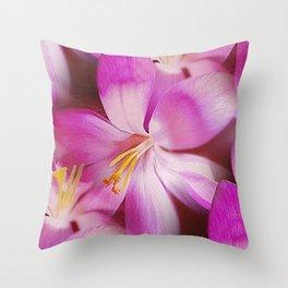 Pink Crocuses Throw Pillow