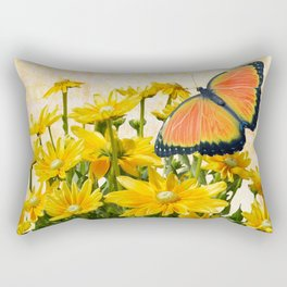 Yellow Daisies with Butterfly Rectangular Pillow