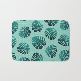 Gradient Monstera Leaves Geometric Background Bath Mat