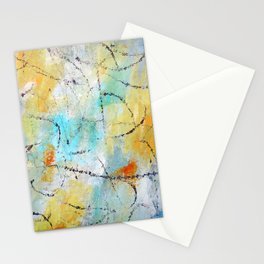 Feeling Lyrical Blue Yellow Abstract Stationery Cards