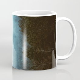 Landscape Photography Misty Pine Forest Blue Hues Coffee Mug