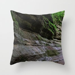 Rock forms in Starved Rock State Park Throw Pillow