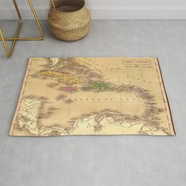 Map Of The Caribbean 1828 Rug
