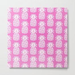 Mid Century Modern Pineapple Pattern Pink Metal Print
