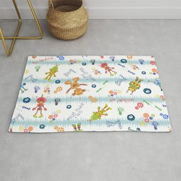 Cute Robots- Blue White Stripes Rug