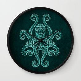 Intricate Teal Blue Octopus Wall Clock