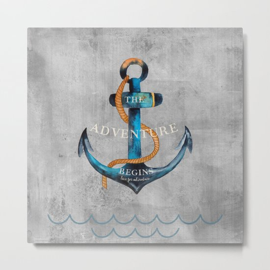 Maritime Design- Nautic Anchor Navy Marine Beach Metal Print