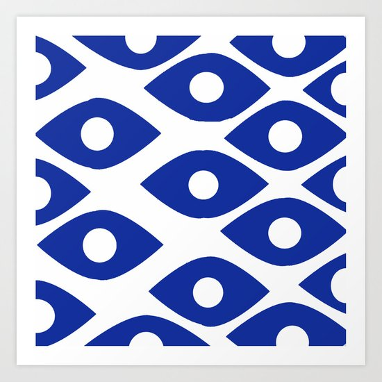 Blue and White Pattern Fish Eye Design by saundramyles