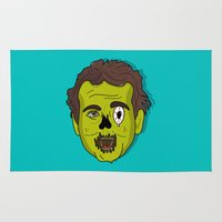 murray Area & Throw Rugs featuring ZomBill Murray by Chelsea Herrick