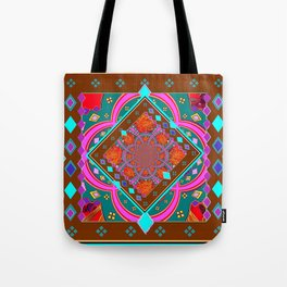 Coffee Brown Turquoise Geometric Wester StyleAbstract Tote Bag