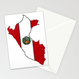 Peru map with Peruvian Flag Stationery Cards