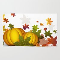 thanksgiving Area & Throw Rugs featuring Thanksgiving Pumpkins by FantasyArtDesigns