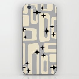 Retro Mid Century Modern Abstract Pattern 576 Gray Black iPhone Skin