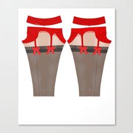 Lingeramas - Sexy Red Lingerie Legging Pajamas Canvas Print