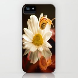 Baby Snail on a flower in the water  iPhone Case
