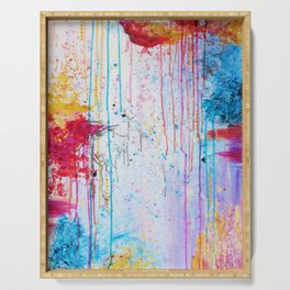 HAPPY TEARS Bright Cheerful Abstract Acrylic Painting, Drip Splat Bold Pink Red Purple Spring Art Serving Tray