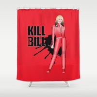 kill bill Shower Curtains featuring Kill Vampire Bill (Red Version) by AriesNamarie