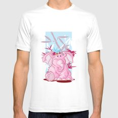 Pink Elephant MEDIUM Mens Fitted Tee White