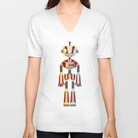 robot V-neck T-shirts featuring Robot by LindseyCowley