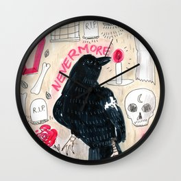 horror pattern the crow skull cemetery roses Wall Clock
