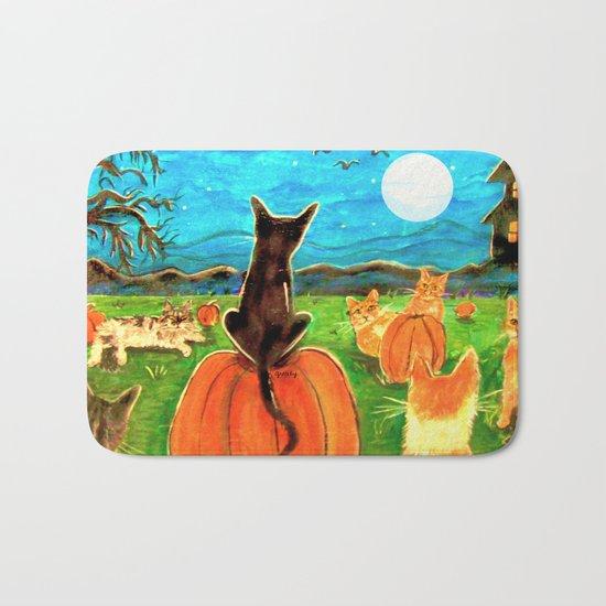 Seven Cats in Pumpkin Patch Bath Mat