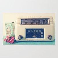 radio Area & Throw Rugs featuring Retro Radio by Olivia Joy StClaire