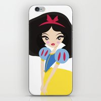snow white iPhone & iPod Skins featuring Snow White by Paint Me Pink