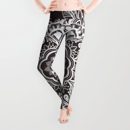 Mandala Bohemian Seaside Stone Floral Wreath Illustration Leggings
