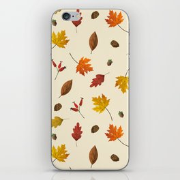 Autumn ivory gold brown fall leaves pattern iPhone Skin