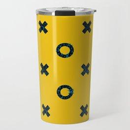 X + O Mustard and Antique Blue Hand Drawn Pattern Travel Mug
