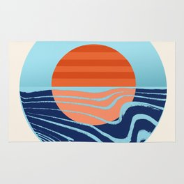 Sweetness - retro minimal 70s style throwback sunset sunrise ocean socal art Rug
