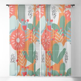 Cacti, fruits and flowers Sheer Curtain
