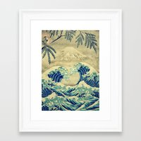 asian Framed Art Prints featuring The Great Blue Embrace at Yama by Kijiermono