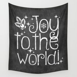Joy to the world chalkboard christmas lettering Wall Tapestry