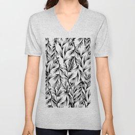 Tropical black white floral leaves pattern Unisex V-Neck