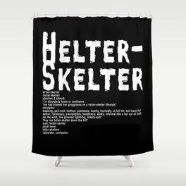Helter Skelter (white on black) Shower Curtain