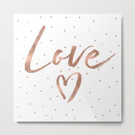 Rose Gold Glam Love Heart Confetti Metal Print